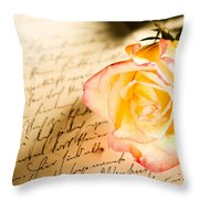Red Yellow Rose Over A Hand Written Letter Throw Pillow