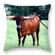 Reddish Brown Longhorn Throw Pillow
