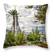 Redlands Temple Palm Throw Pillow