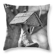 Redneck Cowboy Boot Birdhouse Bw Throw Pillow