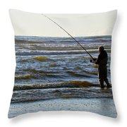 Reeling In Dinner  Throw Pillow by Pamela Patch