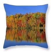 Reflected Autumn Trees In Simon Lake Throw Pillow