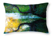 Reflected Tree In Pastel Landscape Throw Pillow