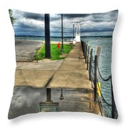 Reflecting At The Erie Basin Marina Throw Pillow