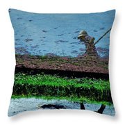 Reflecting On Rice Throw Pillow