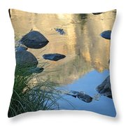 Reflecting Peaks In The Merced River Throw Pillow