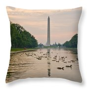 Reflecting Pool And Ducks Throw Pillow