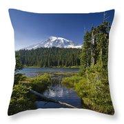 Reflection Lake With Mount Rainier Throw Pillow