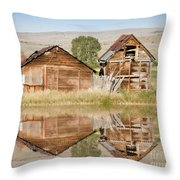 Reflection Of An Old Building Throw Pillow by Donna Greene