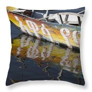 Reflection Of Boat In Lake Ethiopia Throw Pillow