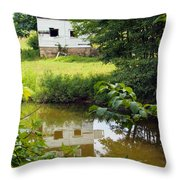 Reflection Of The Barn Throw Pillow
