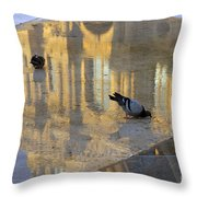 Reflection Of The Louvre In Paris Throw Pillow