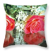 Reflection Red Roses Throw Pillow