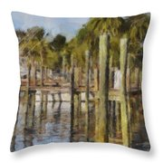 Reflections At Fort Pierce Throw Pillow