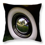 Reflections In A Hubcap Throw Pillow