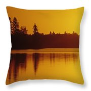 Reflections On Jessica Lake At Sunrise Throw Pillow