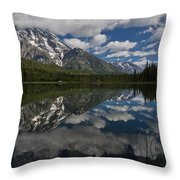 Reflections On Mount Moran Throw Pillow