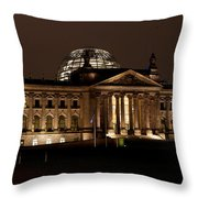 Reichstag At Night Throw Pillow