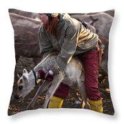 Reindeer Farm Work Throw Pillow