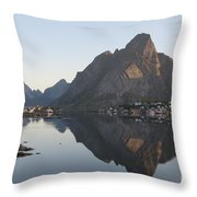 Reine Village In Early Morning Light Throw Pillow