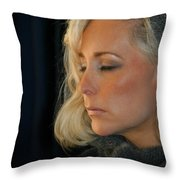 Relaxed Blond Woman Throw Pillow