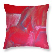 Relaxing In Red Throw Pillow