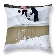 Removing Snow From A Building Throw Pillow