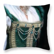 Renaissance Lady In Green Throw Pillow