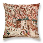 Representation Of The Terrible Fire Of New York Throw Pillow