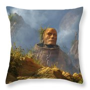 Reptoid Aliens Discover A Statue Throw Pillow