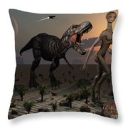 Reptoids Tame Dinosaurs Using Telepathy Throw Pillow
