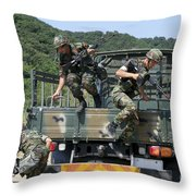 Republic Of Korea Marines Dismount Throw Pillow