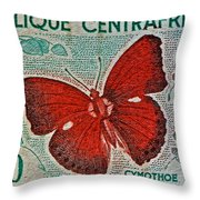 Republique Centrafricaine Butterfly Stamp Throw Pillow