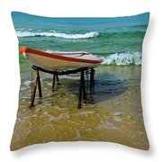 Rescue Boat In Anticipation Of Work Throw Pillow