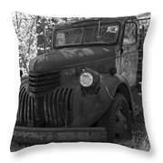 Retired Rusty Relic Farm Truck Throw Pillow