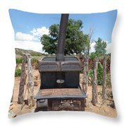 Retired Wood Burning Stove Throw Pillow
