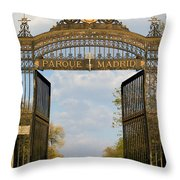 Retiro Park Entrance In Madrid Throw Pillow