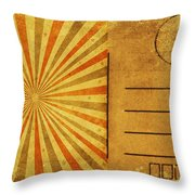 Retro Grunge Ray Postcard Throw Pillow