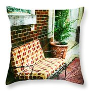 Retro Grunge Sidewalk Bench Seat Throw Pillow