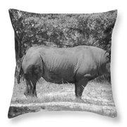 Rhino In Black And White Throw Pillow