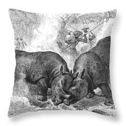 Rhinoceros Fight, 1875 Throw Pillow
