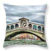 Rialto Bridge Over The Grand Canal Of Venice Throw Pillow