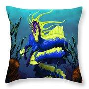 Ribbon Hippocampus Throw Pillow