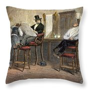 Richmond Barbershop, 1850s Throw Pillow