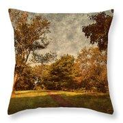 Ridge Walk - Holmdel Park Throw Pillow by Angie Tirado