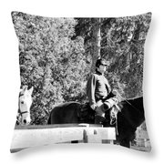 Riding Soldiers B And W II Throw Pillow