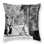 Riding Soldiers B And W IIi Throw Pillow