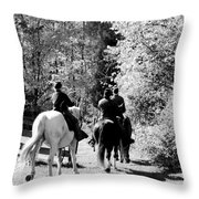Riding Soldiers B And W Throw Pillow