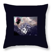 Riding The Tetons Throw Pillow
