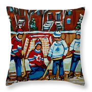 Rink Hockey Montreal Street Scenes Throw Pillow by Carole Spandau